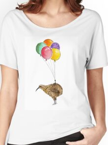 Kiwi flying with balloons Women's Relaxed Fit T-Shirt