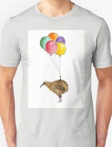 Kiwi flying with balloons Unisex T-Shirt