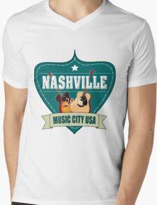 Vintage Nashville Music City Mens V-Neck T-Shirt