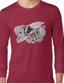 Tropical Leaves and Flowers Long Sleeve T-Shirt