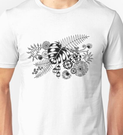 Tropical Leaves and Flowers Unisex T-Shirt
