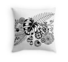 Tropical Leaves and Flowers Throw Pillow