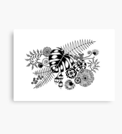 Tropical Leaves and Flowers Canvas Print