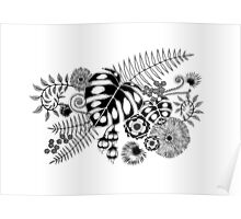 Tropical Leaves and Flowers Poster