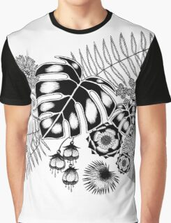Tropical Leaves and Flowers Graphic T-Shirt
