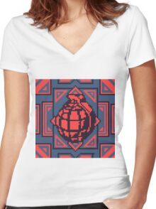 Grenade Pattern [Red/Blue] Women's Fitted V-Neck T-Shirt