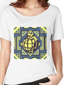 Grenade Pattern [Yellow/Blue] Women's Relaxed Fit T-Shirt