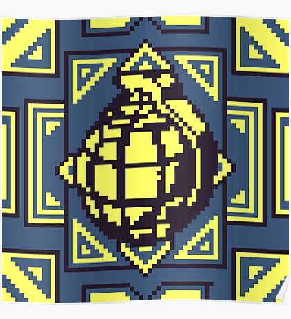 Grenade Pattern [Yellow/Blue] Poster