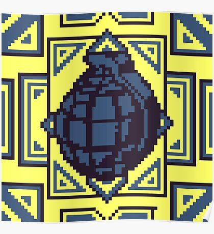 Grenade Pattern [Blue/Yellow] Poster
