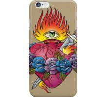 Flaming heart tattoo iPhone Case/Skin