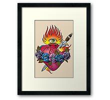 Flaming heart tattoo Framed Print