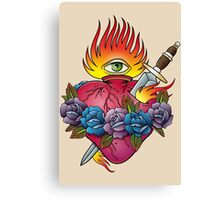 Flaming heart tattoo Canvas Print