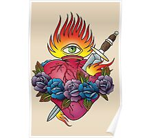 Flaming heart tattoo Poster