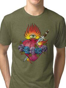 Flaming heart tattoo Tri-blend T-Shirt