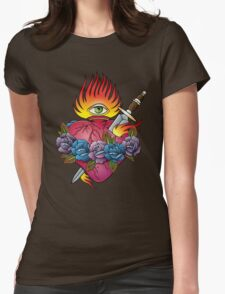 Flaming heart tattoo Womens Fitted T-Shirt