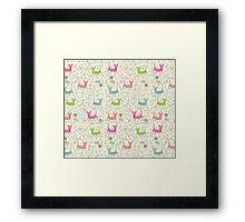 Cute Cartoon Style, Cats  Pattern Framed Print