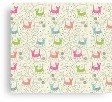 Cute Cartoon Style, Cats  Pattern Canvas Print