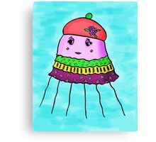 Jellyfish in a hat and a dress Canvas Print