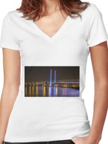 Bolte Bridge at night, Melbourne Women's Fitted V-Neck T-Shirt