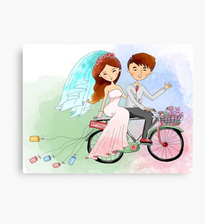 Bride and Groom Just Married Bicycle Flowers Canvas Print