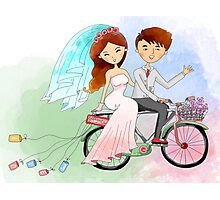 Bride and Groom Just Married Bicycle Flowers Photographic Print