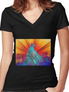 Shining Bird  Women's Fitted V-Neck T-Shirt