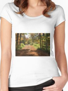 Fall mountain forest road.  Women's Fitted Scoop T-Shirt