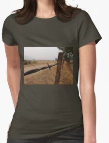 Barb Wire Fence Womens Fitted T-Shirt