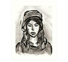 Girl with Scarf Art Print