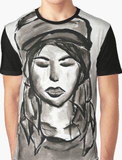 Girl with Scarf Graphic T-Shirt