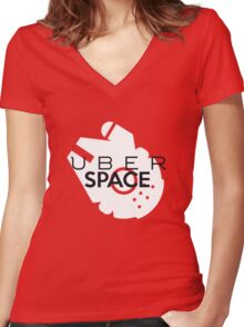 """Millenium Falcon from Star Wars """"Uber Space"""" Women's Fitted V-Neck T-Shirt"""