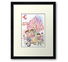 Watercolors Kids Playing Summer Love Flowers Framed Print