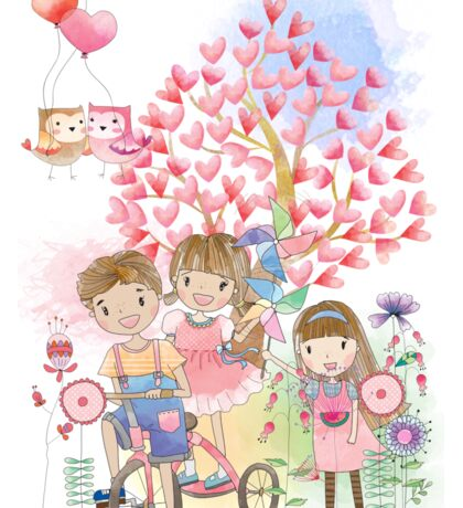 Watercolors Kids Playing Summer Love Flowers Sticker