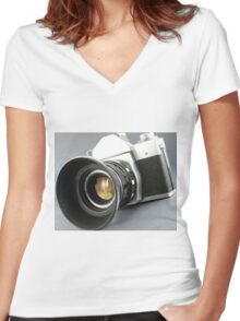 Photographic camera Women's Fitted V-Neck T-Shirt