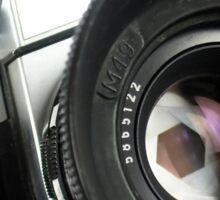 Camera in action. Sticker