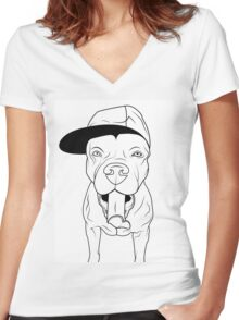 dogs, cute puppy pitbull Women's Fitted V-Neck T-Shirt