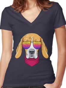 Hipster serious dog Beagle  Women's Fitted V-Neck T-Shirt