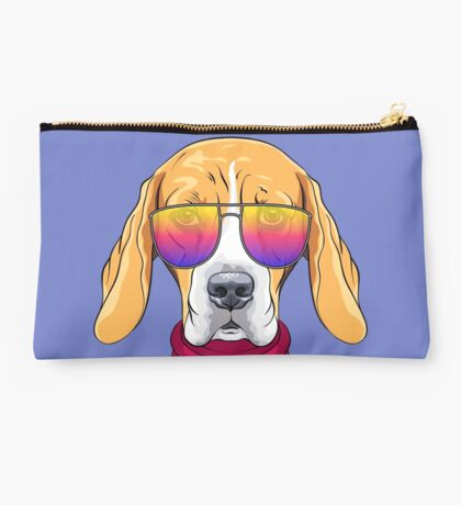 Hipster serious dog Beagle  Studio Pouch