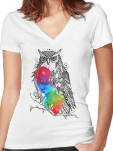Owl stand by you Women's Fitted V-Neck T-Shirt