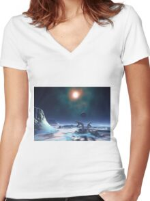 Cold Planet Women's Fitted V-Neck T-Shirt