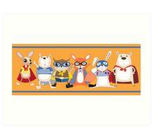 Cute Funny Super Heroes Animals Art Print