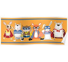 Cute Funny Super Heroes Animals Poster
