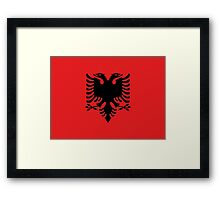 Albanian national flag in authentic color and scale. Framed Print