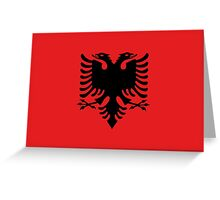 Albanian national flag in authentic color and scale. Greeting Card