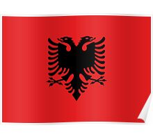 Albanian national flag in authentic color and scale. Poster