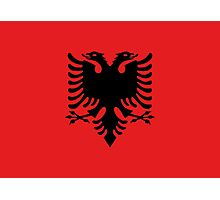 Albanian national flag in authentic color and scale. Photographic Print