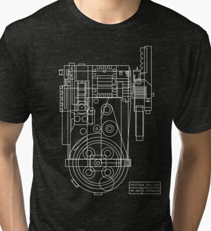 Postitron collider (proton pack) blueprint Tri-blend T-Shirt