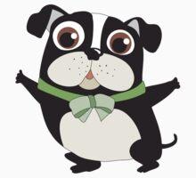 Cute Cartoon Pets Dogs Boston Terrier Kids Tee