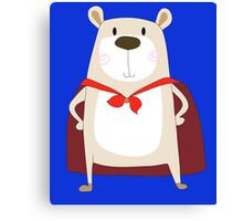 Cute Cartoon Bear Super Hero Canvas Print