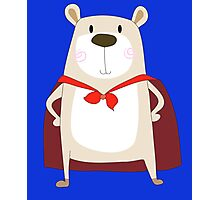 Cute Cartoon Bear Super Hero Photographic Print